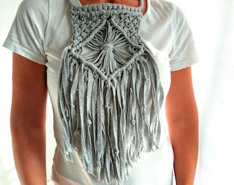 Macrame Necklace, Gray Boho Necklace, Yarn Macrame Necklace, Long Macrame Necklace, Cotton Rope Knot Necklace, Macrame Jewelry