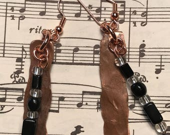 Gifts for Her, Hammered Copper Earrings with Black