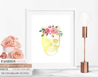skull decor, skull print, skull wall art, floral skull print, flower skull print, boho wall art, boho decor, gold wall art, home decor