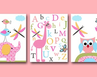 Elephant Nursery Owl Nursery Giraffe Nursery Alphabet Nursery Digital files Baby Girl Nursery Print set of 3 8x10 , 11X14 INSTANT DOWNLOAD