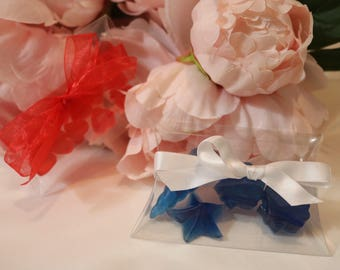Mini nautical soaps. Mini heart soaps, plastic containers with bow, party favors, heart party favors, wedding favors, nautical wedding favor