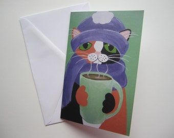 Calico Cat with Coffee Christmas Card, Cat Christmas Card, Cat Art, Holiday Card