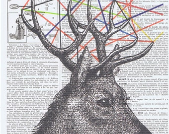 Deer,Antique Book Page.gift.home deco.Birthday,buy 3 get 1 FREE.antlers,wife,french.paris.mixed media.handmade.geometric.forest animal.hart