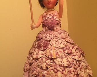 Vintage Doll with Seashell Dress and Umbrella - Not a Toy