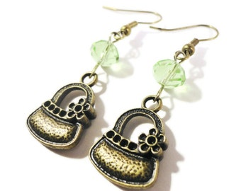 Bronze Handbag Earrings, Purse Charm Earrings, Peridot Green Crystal Bead Earrings, Beaded Dangle Earrings, Beadwork Earrings, Teen Jewelry