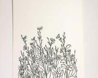 Daisies- Original handcut paper artwork