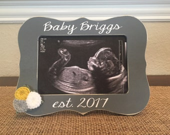 Baby Est. Frame - Love At First Sight Frame - Ultrasound Picture Frame - We're Pregnant Baby Announcement