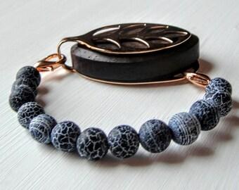 SALE ITEM! Frosted Agate Grey/Black Beaded Bracelet for the Bellabeat LEAF