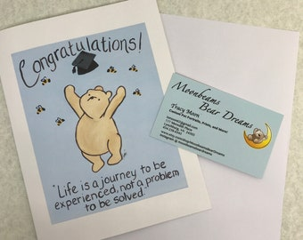 graduation card college high school winnie the pooh quote life journey life is a journey congratulations congrats card achievement