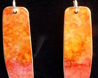 Handpainted Earrings - Red Yellow - Lightweight - Sterling Silver Earwires