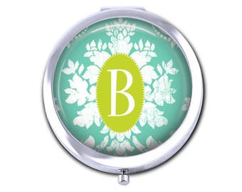 Custom Initial pocket mirror, personalized compact mirror, damask bridesmaid gift for her, purse mirror, travel.