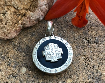 Saint Benedict pendant. Double sided. Sterling silver.