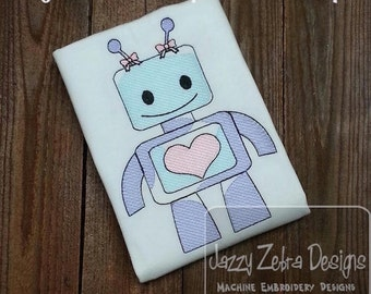 Girl Robot Love 100 Sketch Embroidery Design - Valentine Sketch Embroidery Design - Valentines day Sketch Embroidery Design