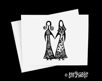Gay Wedding Card Female Wedding Single Notecard Blank Inside