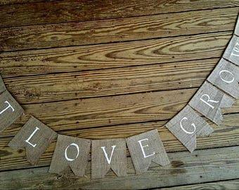 Let Love Grow ~ Burlap Wedding Banner/Bunting ~ Engagement Birthday Photo Prop BUNTING Succulents flowers  custom
