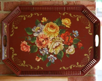 FREE SHIPPING!! - Cottage Romantic - Large 18x24 Maroon Tole Tray Hand Painted with Cabbage Roses & Gold Accents - Toleware Tea Service Tray