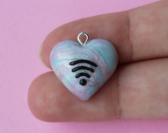 marbled wifi heart charm, pearly wifi charm, clay charm