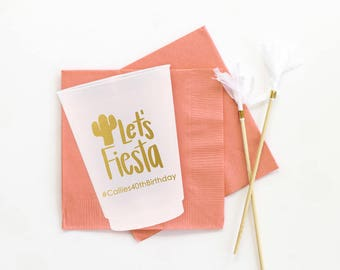 Fiesta Birthday Party Cups Personalized Fiesta Cups Mexican Party Supplies Custom Printed Plastic Cups Fiesta Party Ideas Cinco De Mayo Cups