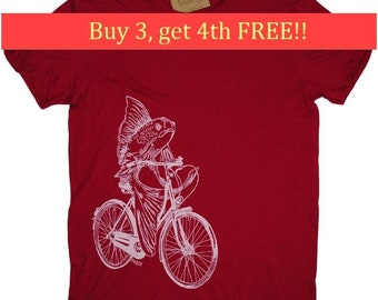 Mens Funny TShirt -  Mens Gift - Nautical Tee Shirts - Boyfriend Tshirt - T Shirts for Men - Fish Tee Shirts - Fish on a Bike T Shirt
