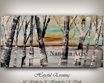 Painting, Aspen Tree Painting, Birch Tree Art, Autumn Forest Landscape Painting Wall Art, Sunset Scenery best friend gift by Nandita