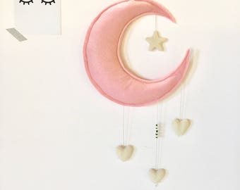 """Mobile """"moon and hearts"""" (personalized name)"""