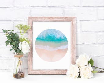 Printable Art - Beach Scene Sea & Sand - Peaceful Sanctuary Wall Office Home Decor