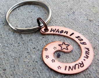 When I say run, RUN - Doctor Who hand stamped spiral keychain  -Made to Order-