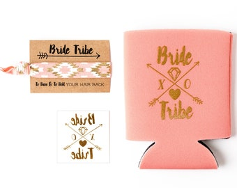 Coral Bride Tribe Bachelorette Gift Set | Metallic Gold Tattoo, Hair Tie + Drink Cooler | Bachelorette Favors, Peach Party Favor