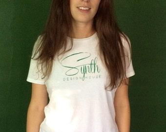 Synth Silk Screen Print T-Shirt Green White