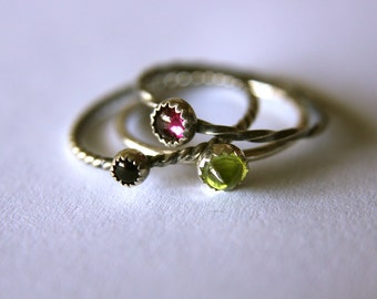 Set of 3 Stackable Rings Mix and Match Gemstones Sterling Silver