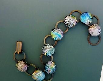 Multi Colored Fused Glass Bracelet, Dichroic Fused Glass Link Bracelet, Crystal Rainbow Fused Glass Copper Link Bracelet