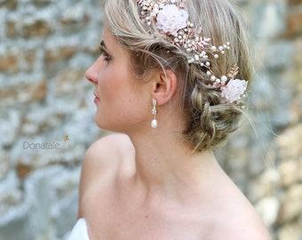 Rose Gold Bridal Hair Vine -Wedding hair piece- Bridal Hair Comb- Wedding headpiece-Wedding hair accessory- Bridal hair pin- MARGOT