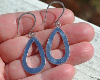 Sterling Silver Teardrop Hammered Earrings