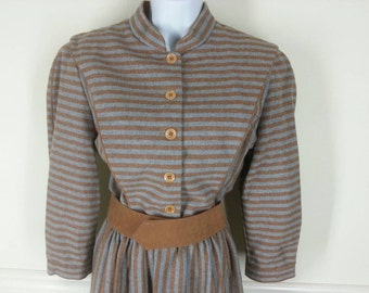 Vtg 70s brown and grey stripe wool shirt dress size 14 bust 40in.