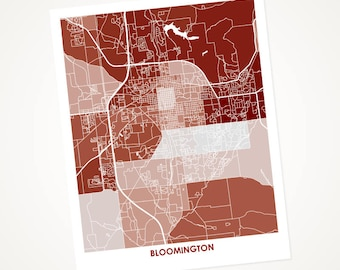 Bloomington Map Print.  Choose your size and color.  Perfect art for your favorite Indiana University Hoosiers.