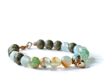 Aromatherapy Fire Agate & Lava Stone Charm Bracelet, Essential Oil Diffuser Jewelry