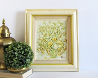Yellow Flower Bouquet - Vintage Oil Painting on Canvas - Signed Original Art - Mid Century Art - Floral Home Decor - Yellow Wall Decor