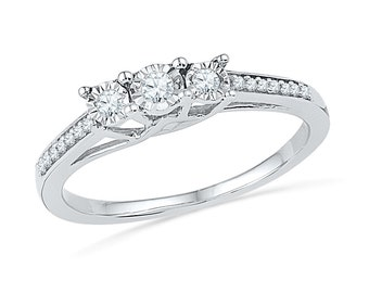 Three Diamond Engagement Ring, Sterling Silver Promise Ring or White Gold Ring