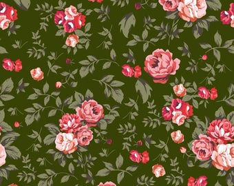 Olive Green Stretch Velvet Fabric, Rose Floral Print, Dressmaking Cotton Fabric, Quilt Material, Fabric By The Yard, MIN-FL1H