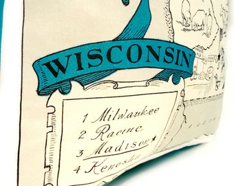 Wisconsin  State Pillow Cover with Insert