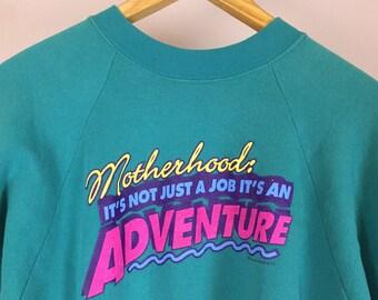 80s Novelty Sweatshirt- 1980s Vintage Novelty Humor / Mom in Teal, Purple, Hot Pink- Punk New Wave Funky Fresh- Adventure