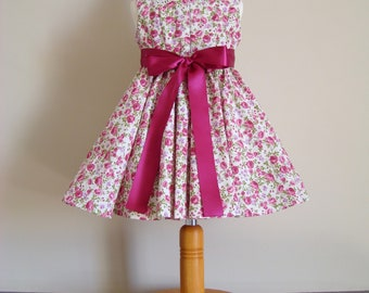 Lace dress Peter Pan collar and pink flowers cotton