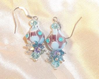 Earrings pearls balloon blue murano