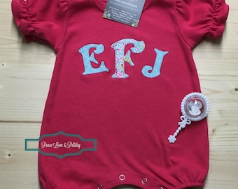 Monogrammed Baby Romper, Personalized Romper, Personalized Baby Romper, Personalized Girl's Shirt, Baby Shower Gift, Going Home Outfit