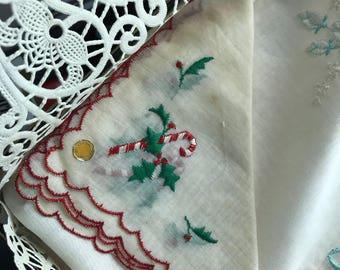 10 inch Christmas handkerchief made in Switzerland 1940s NEW