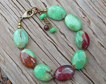 OOAK Bright Green and Brown Chrysoprase Statement Healing Gemstone Bracelet