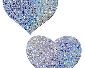 Pasties - Silver Glitter Heart Nipple Pasties by Pastease® o/s