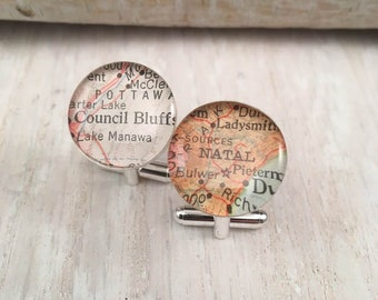Sterling  Silver, Custom Map Cufflink, Keep a Memory Alive