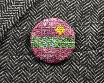 Pink Green Embroidered Badge