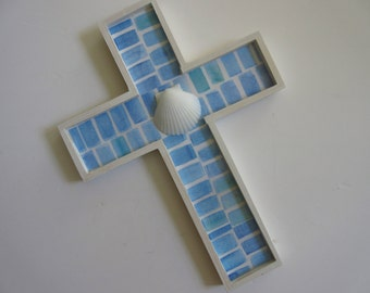 Beachy Cross - Seaglass Blues and Aqua and White Clam Shell
